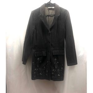 Black Pinstripe Trench Coat with Embroidery Size 4